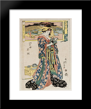 From The Series Toto Meisho, Kokoro No Nazo Sugata Awase: Modern Black Framed Art Print by Keisai Eisen