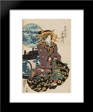 Fuji From Izu (Izu No Fuji): Modern Black Framed Art Print by Keisai Eisen