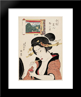 Fukagawa Hachiman No Shin Fuji, From The Series Twelve Views Of Modern Beauties (Imayo Bijin Juni Kei): Modern Black Framed Art Print by Keisai Eisen