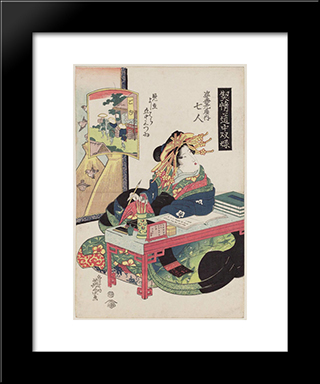 Goyu Nanahito Of The Sugata-Ebiya: Modern Black Framed Art Print by Keisai Eisen