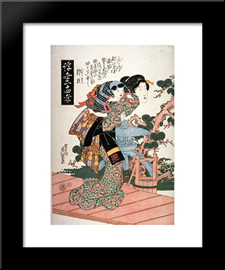Guojo (Kakukyo) From The Series Twenty-Four Examples Of Filial Devotion In The Floating World (Ukiyo Nijushiko): Modern Black Framed Art Print by Keisai Eisen