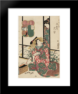 Hanamurasaki Of The Tamaya, From The Series Eight Views Of The Pleasure Quarters (Kuruwa Hakkei): Modern Black Framed Art Print by Keisai Eisen