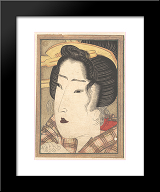 Head Of A Beauty: Modern Black Framed Art Print by Keisai Eisen