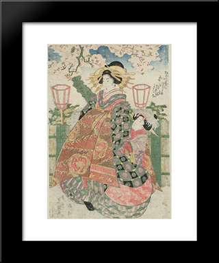 Katsuyama Of The Matsubaya: Modern Black Framed Art Print by Keisai Eisen