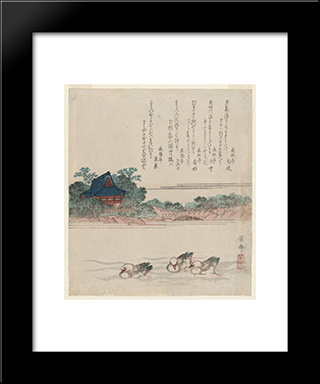 Komagata-Do Temple At Onmaya Embankment (Onmaya-Gashi): Modern Black Framed Art Print by Keisai Eisen