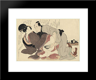 A Married Man And A Spinster: Modern Black Framed Art Print by Kitagawa Utamaro