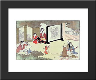 A Monkey Trainer Performing At A Noblemans House,: Modern Black Framed Art Print by Kitagawa Utamaro