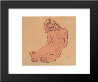 A Crouching Woman: Modern Black Framed Art Print by Koloman Moser