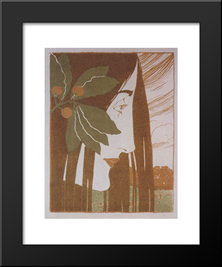A Decorative Stain In Red And Green: Modern Black Framed Art Print by Koloman Moser