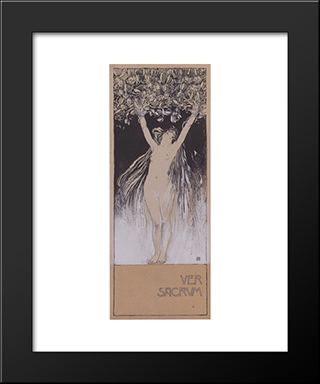 Allegory Of Ver Sacrum, Sketch Of Illustration To Ver Sacrum, 101 1898, P.1: Modern Black Framed Art Print by Koloman Moser