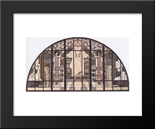 Am Steinhof Church, Colored Sketch Of South Window: Modern Black Framed Art Print by Koloman Moser