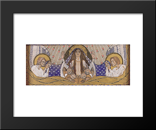 Am Steinhof Church, Design For The Left Side Altar Our Lady Of Mercy: Modern Black Framed Art Print by Koloman Moser