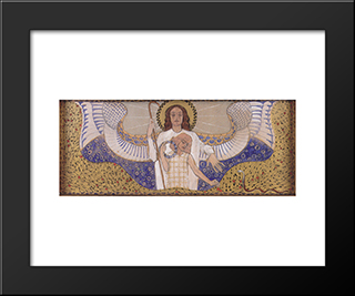 Am Steinhof Church, Design For The Right Side Altar Guardian Angel: Modern Black Framed Art Print by Koloman Moser