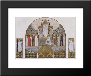 Am Steinhof Church, Mosaic Design For The Main Altar: Modern Black Framed Art Print by Koloman Moser