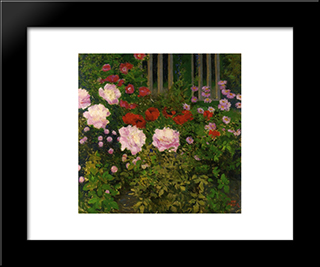 Blooming Flowers With Garden Fence: Modern Black Framed Art Print by Koloman Moser