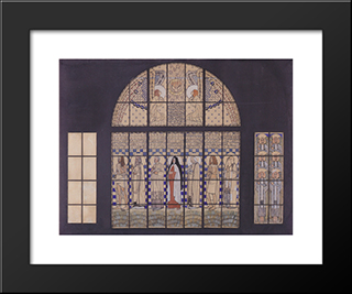 Church Am Steinhof, Design For The East Side Windows: Modern Black Framed Art Print by Koloman Moser