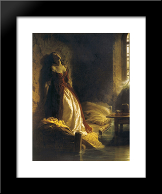 Princess Tarakanova, In The Peter And Paul Fortress At The Time Of The Flood: Modern Black Framed Art Print by Konstantin Dmitriyevich Flavitsky