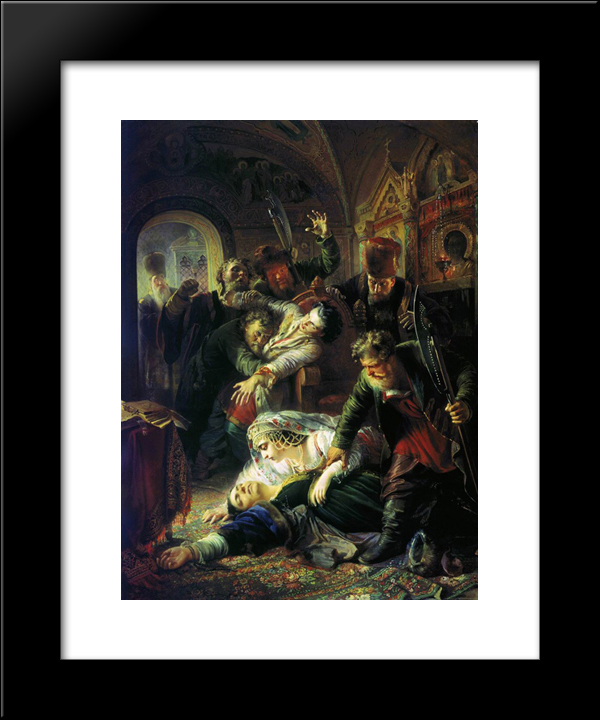 Dmitri The Pretender'S Agents Murder The Son Of Boris Godunov: Custom Black Wood Framed Art Print by Konstantin Makovsky