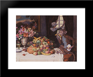 A Greedy Monkey: Modern Black Framed Art Print by Konstantin Somov