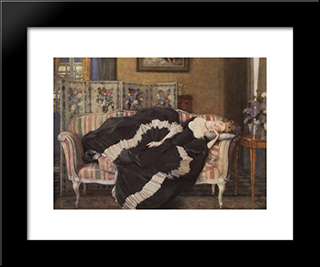 A Sleeping Woman: Modern Black Framed Art Print by Konstantin Somov