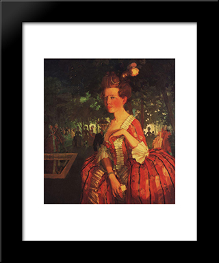 A Young Girl In A Red Dress (Girl With A Letter): Modern Black Framed Art Print by Konstantin Somov