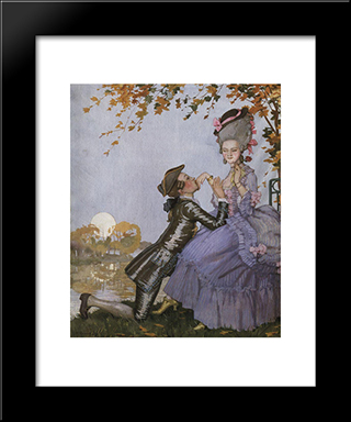 A Youth On His Knees In Front Of A Lady: Modern Black Framed Art Print by Konstantin Somov