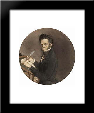 Alexander Pushkin At Work: Modern Black Framed Art Print by Konstantin Somov