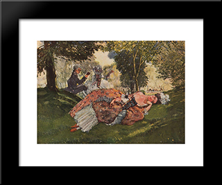 Asleep On The Grass Young Woman: Modern Black Framed Art Print by Konstantin Somov