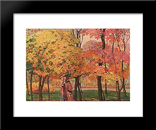 Autumn: Modern Black Framed Art Print by Konstantin Somov