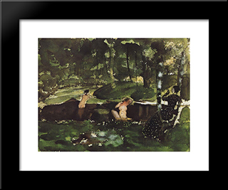 Bathing: Modern Black Framed Art Print by Konstantin Somov