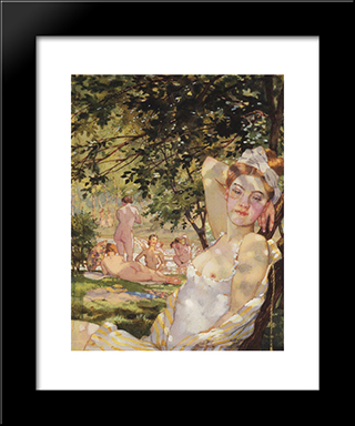 Bathings In The Sun: Modern Black Framed Art Print by Konstantin Somov