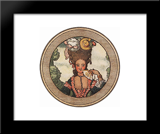 Book Of The Marquise. Illustration 3: Modern Black Framed Art Print by Konstantin Somov