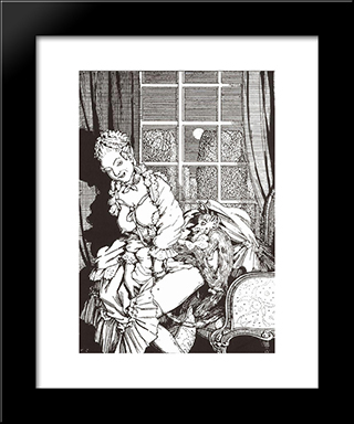 Book Of The Marquise. Illustration 4: Modern Black Framed Art Print by Konstantin Somov