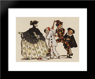 Book Of The Marquise. Illustration 5: Modern Black Framed Art Print by Konstantin Somov