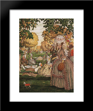 Book Of The Marquise. Illustration 6: Modern Black Framed Art Print by Konstantin Somov