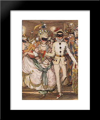 Book Of The Marquise. Illustration 8: Modern Black Framed Art Print by Konstantin Somov