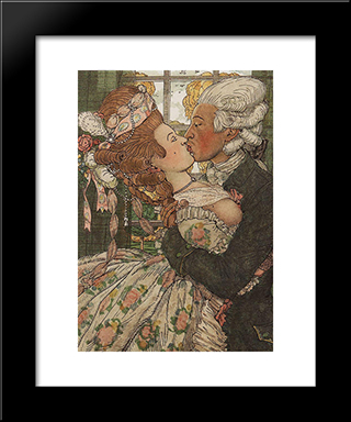 Book Of The Marquise. Illustration 9: Modern Black Framed Art Print by Konstantin Somov