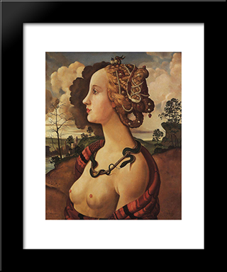 Copy Of 'Portrait Of Simonetta Vespucci' By Piero Di Cosimo: Modern Black Framed Art Print by Konstantin Somov