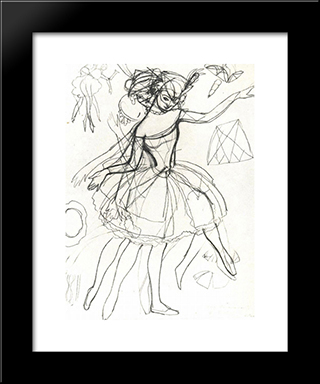 Costume Sketches Of Columbine For Anna Pavlova: Modern Black Framed Art Print by Konstantin Somov
