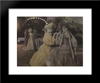 Courtesans: Modern Black Framed Art Print by Konstantin Somov