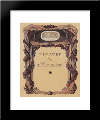 Cover Of Theater Program 'Theatre De L Hermitage': Modern Black Framed Art Print by Konstantin Somov