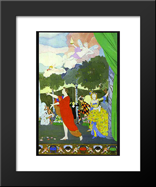 Curtain Design For The 'Free Theatre' In Moscow: Modern Black Framed Art Print by Konstantin Somov