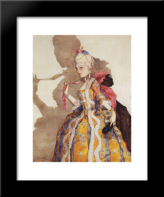Design Of Costume For Awnings T. Karsavina (To Dance To Music By Mozart): Modern Black Framed Art Print by Konstantin Somov