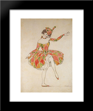Design Of Costume Of Columbine For Anna Pavlova In Harlequinade: Modern Black Framed Art Print by Konstantin Somov