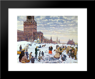 Feeding Pigeons In Red Square In The Years 1890 - 1900: Modern Black Framed Art Print by Konstantin Yuon