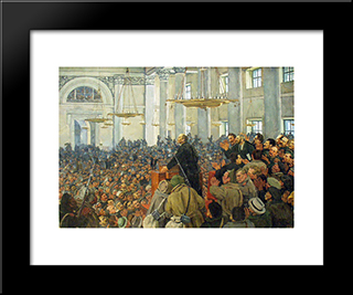 First Appearance Of Lenin At A Meeting In Smolny, The Petrograd Soviet On Oct. 25, 1917: Modern Black Framed Art Print by Konstantin Yuon