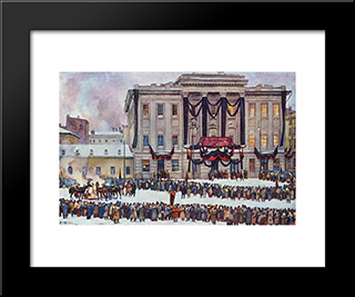 In Those Days. At The House Of Unions In The Days Of Lenin'S Funeral: Modern Black Framed Art Print by Konstantin Yuon