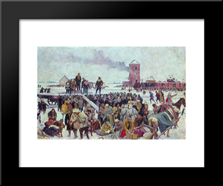 Seeing The Unit Of Workers To The Front: Modern Black Framed Art Print by Konstantin Yuon
