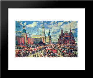 The 1St May Demonstration On The Red Square At 1929: Modern Black Framed Art Print by Konstantin Yuon