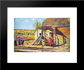 The First Collective Farmers. In The Rays Of Of The Sun. Podolina. Mosk. Reg.: Modern Black Framed Art Print by Konstantin Yuon